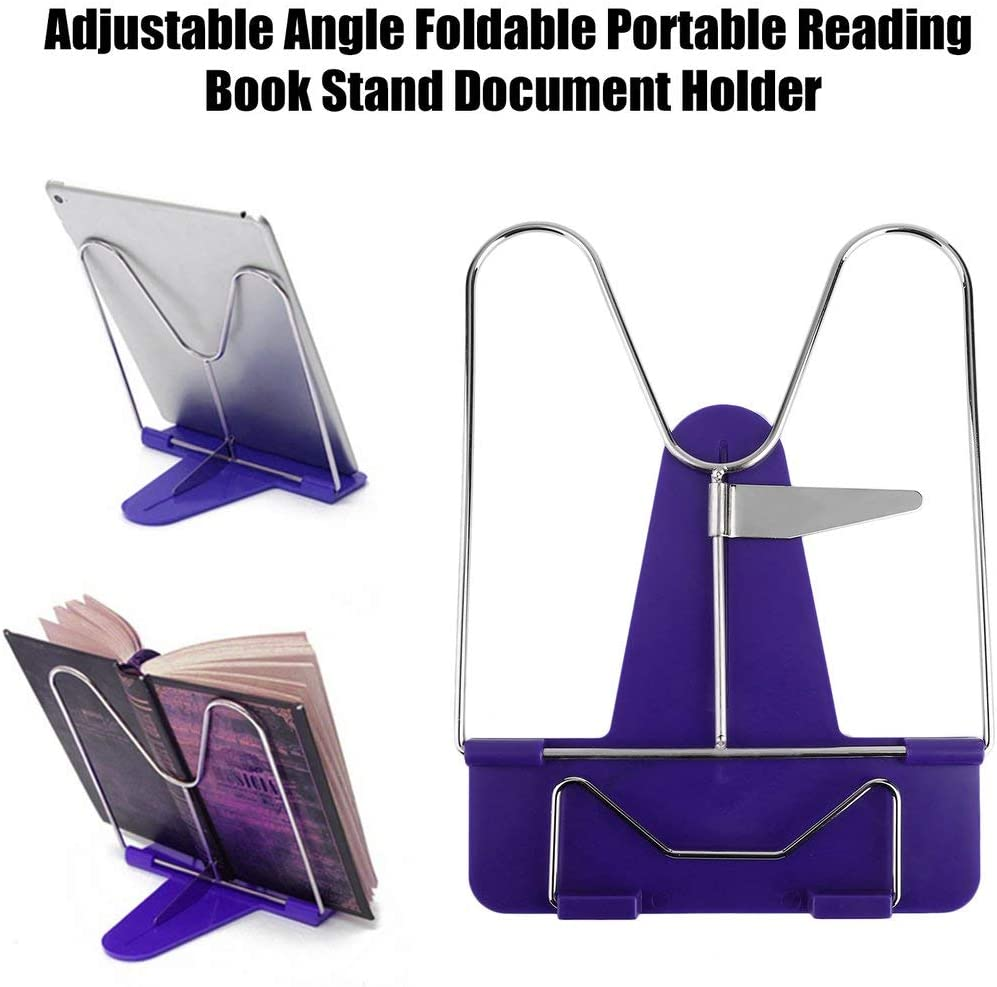 Convinient Adjustable Durable Angle Foldable Portable Reading Book Stand Document Holder Desk Office Supply Stainless Steel Rack Plastic Base