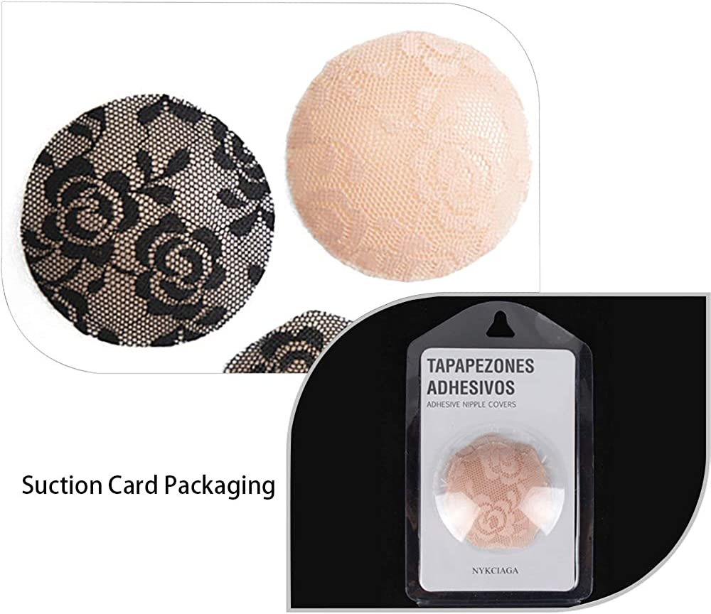 Invisible Silicone Nippleless Covers with Adhesive Adhesive Bra 1 Pairs pink flower with cotton cover