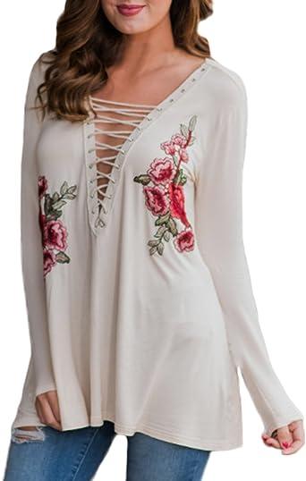 Auxo Mujer Blusas Blanca V Cuello Camisas Bordados de Flores Tops Manga Larga Gran Tamaño Blanco ES 42/Asian XL: Amazon.es: Ropa y accesorios