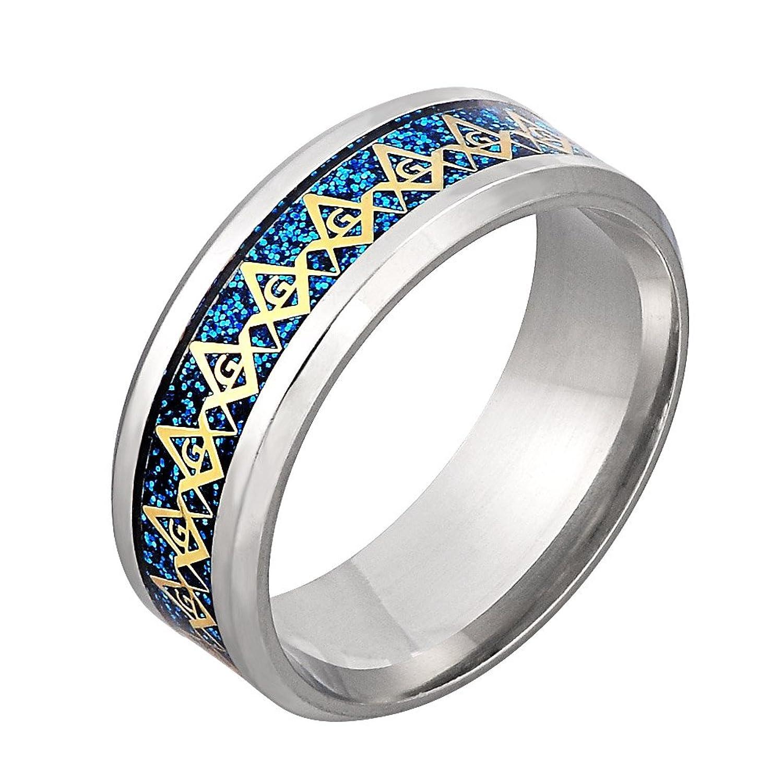 8MM Blue Titanium Steel Carbon Fiber Inlay G Lodge Freemason Masonic Polished Masonic Compass Square Free Mason Ring for Men Size 6-13