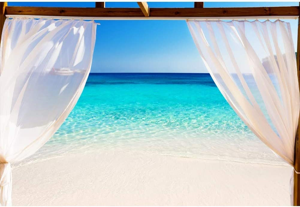 Vinyl 10x8ft White Soft Curtain Seascape Backdrop Wood Window Sea View Blue Clear Water Backgrouds for Summer Holiday Photography Wedding Backdrop Coastal Vacation Portrait Photobooth