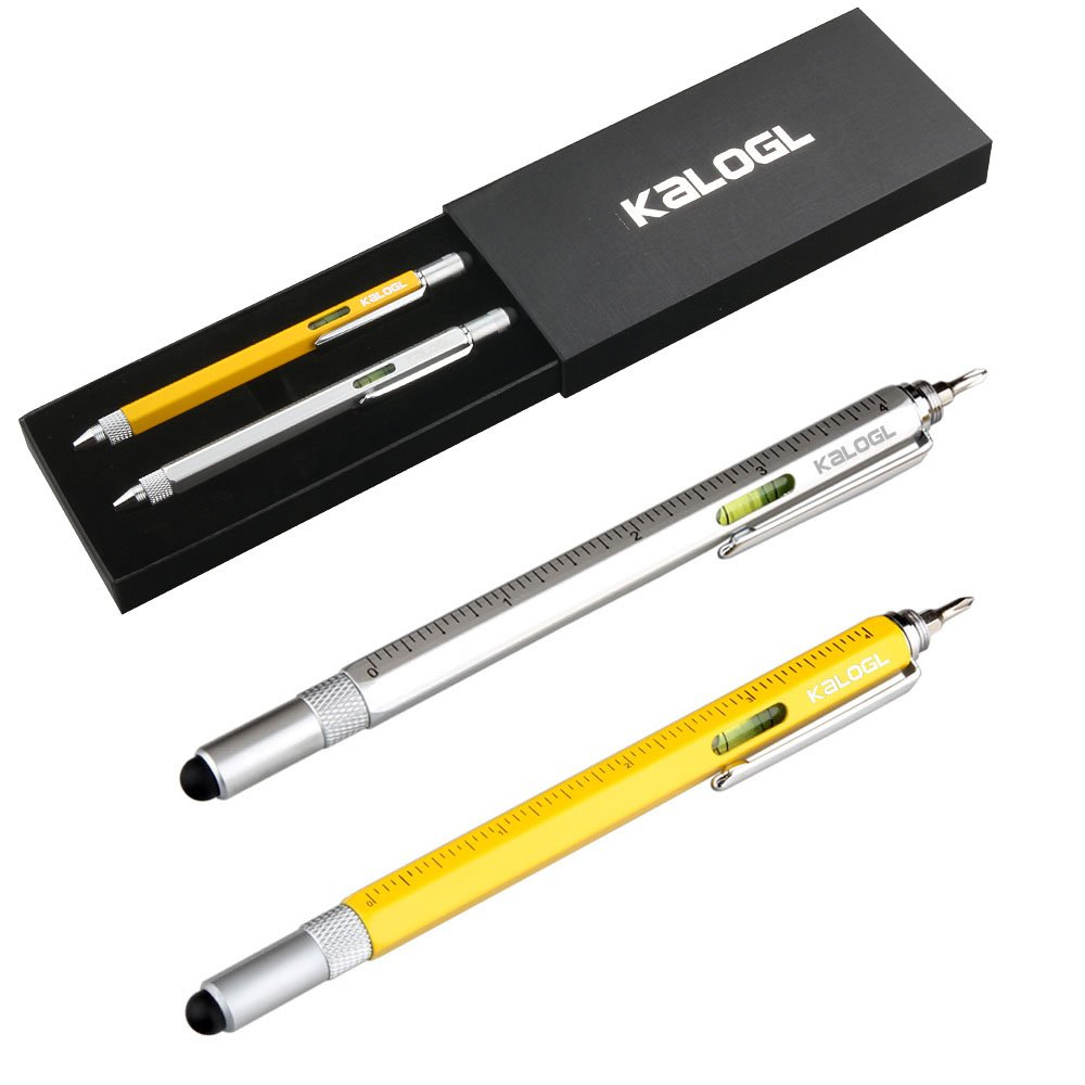 Kalogl Multitool Pen 2 Pack Stylus Pen 9-in-1 Combo Pen Functions as Touchscreen Stylus, Ballpoint Pen, 4 Ruler, Level, Phillips Screwdriver, and Flathead Gift Silver Yellow