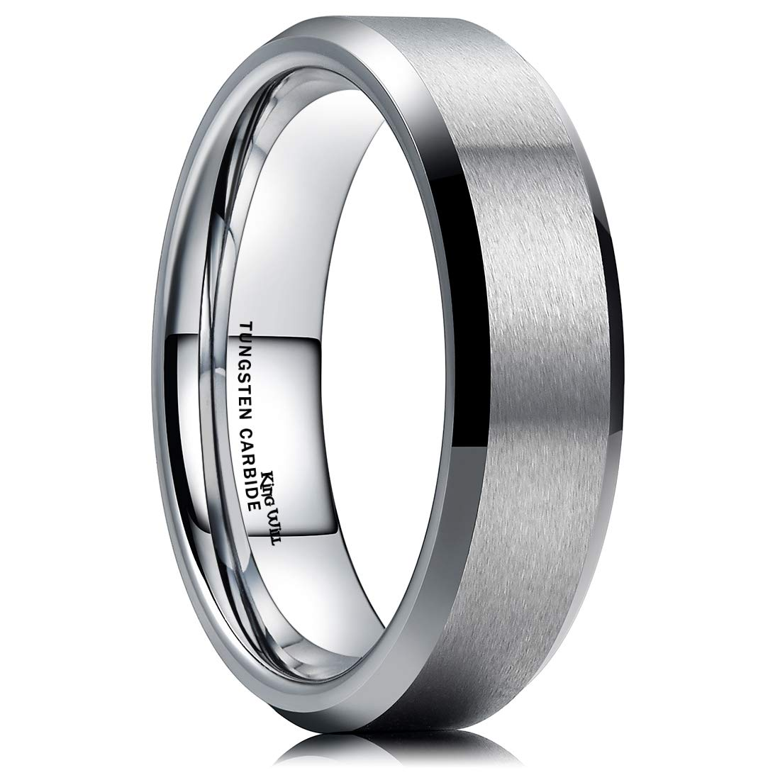 King Will 6MM Wedding Band for Men Tungsten Carbide Engagement Ring Comfort Fit Beveled Edges (9) by King Will