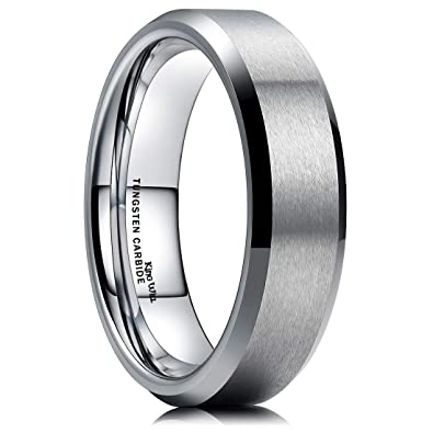 Mens Wedding Bands Tungsten.King Will 6mm Wedding Band For Men Tungsten Carbide Ring Engagement Ring Comfort Fit Beveled Edges