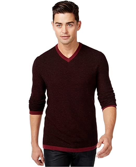 New INC International Concepts V Neck Tonal Stripe Merino Wool Blend Sweater