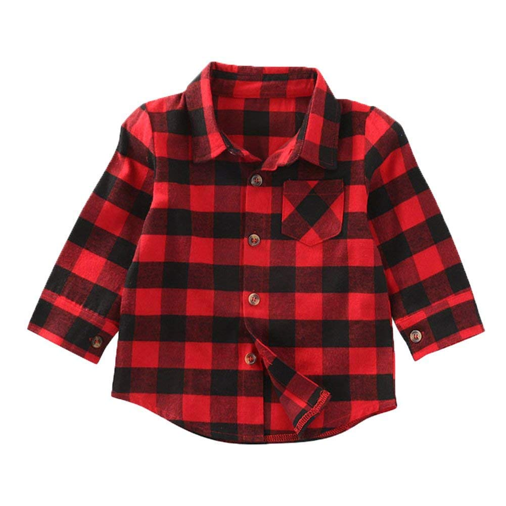 Mini honey Kids Little Boys Girls Baby Long Sleeve Button Down Red Plaid Flannel Shirt Plaid Girl Boy NB-4T