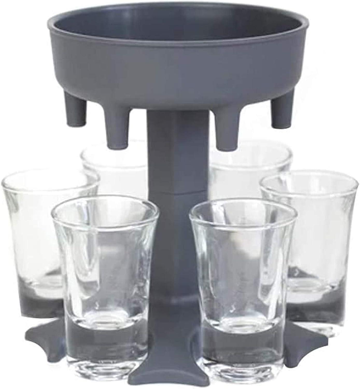 6 Shot Glass Dispenser Holder (Including 6 Shot Glasses) Wine Glass Rack Cooler Beer Beverage Dispenser Shot Buddys Party Gifts Bar Accessories, Shots Dispenser for Filling Liquids