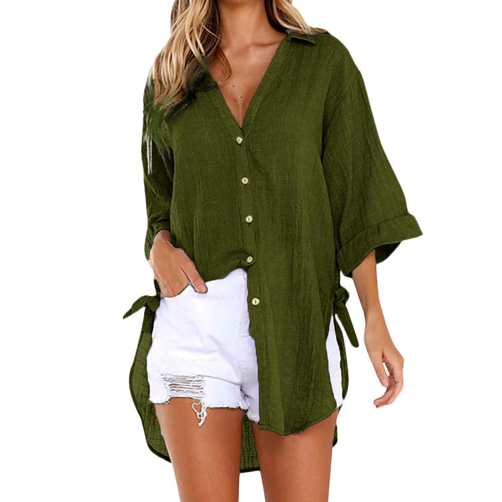 MODOQO Women's Casual Long Shirt Cotton Loose Solid V-Neck Button T-Shirt Blouse(Green ,L)
