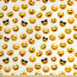 Emoji Fabric By the Yard Ambesonne Emoji Fabric by The Yard, Smiley Face Character Illustration Feeling Happy Surprised Cool and in Love, Decorative Fabric for Upholstery and Home Accents, 1 Yard, Yellow Red Black