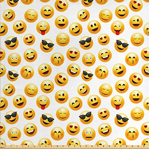 (Ambesonne Emoji Fabric by The Yard, Smiley Face Character Illustration Feeling Happy Surprised Cool and in Love, Decorative Fabric for Upholstery and Home Accents, 2 Yards, Yellow Red Black)