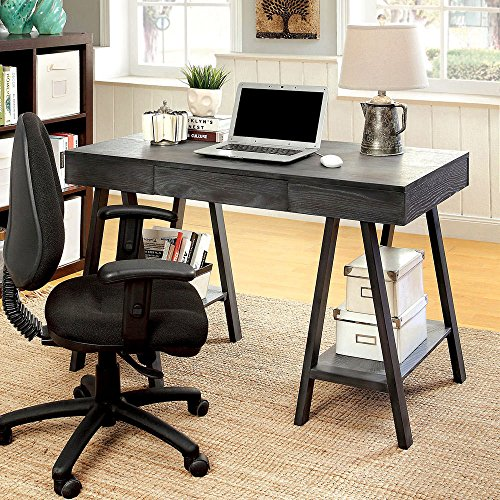1PerfectChoice Surrey Home Office Computer Writing Desk Wood Bottom Shelves Angled Leg Grey by 1PerfectChoice