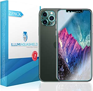 ILLUMI AquaShield Screen Protector Compatible with Apple iPhone 11 Pro (5.8 inch) (Compatible with Cases + Camera Lens)(2-Pack) No-Bubble High Definition Clear Flexible TPU Film