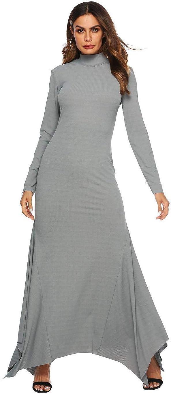 Dickin Women Fashion Solid High Neck Long Sleeve Mermaid Hem Slim Long Dress Dresses