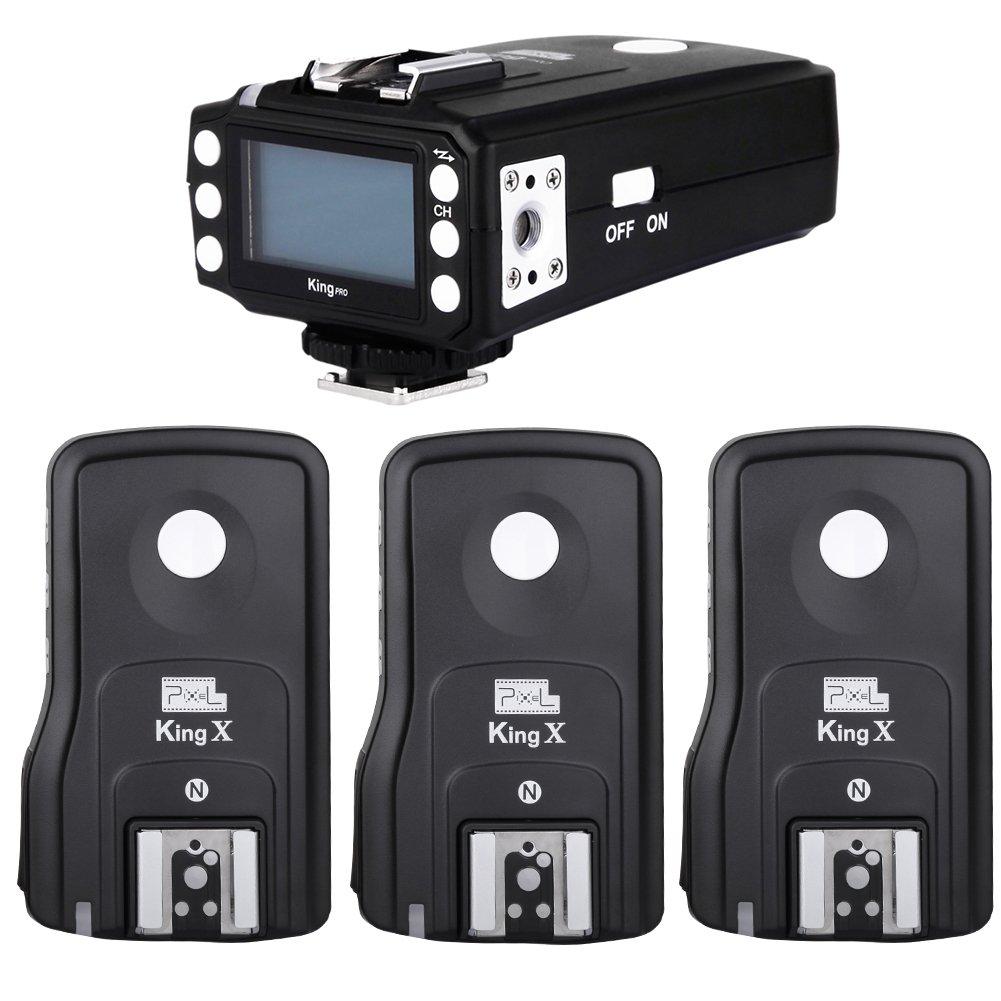 Pixel King Pro TTL HSS LCD Flash Trigger for Nikon Camera and Speedlite Pixel X800N X800n pro (1 Transmitter+3 Receiver)