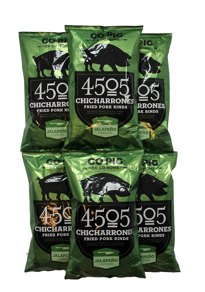 4505 Meats Chicharrones Fried Pork Rinds, Jalapeno Cheddar, 2.5 Ounce, 6 Count by 4505 Meats (Image #1)