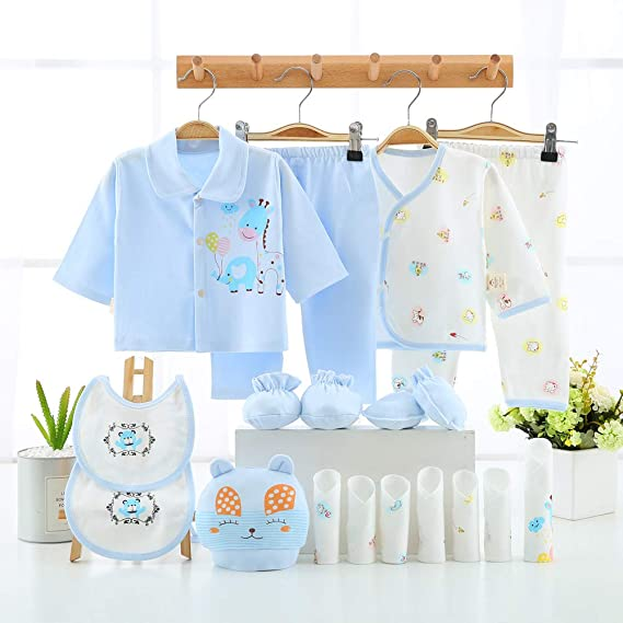 okpuzee 18PCS Newborn Girl Boy Clothes 0 3 Months Baby Outfits Pants Gifts Layette Set