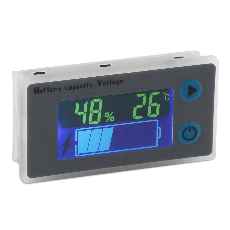 Battery Monitor, DROK 10-100V Digital Battery Capacity Tester, Percentage Level Voltage Temperature Switch Meter Gauge 12V 24V 36V 48V LCD Display Marine RV Battery Power Indicator Panel by DROK