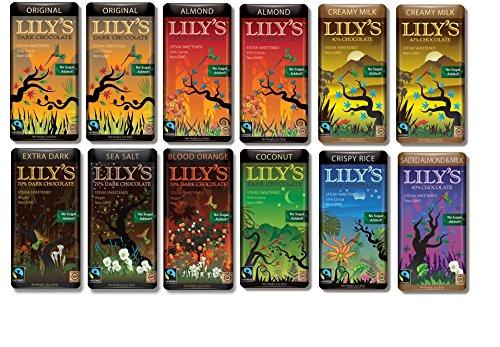 Lily's Chocolate Variety 12 pack (2 of each. Original, Almond, Creamy Milk)(1 of each. Coconut, Crispy Rice, Salted Almond & Milk, Extra Dark chocolate, Blood Orange, Sea Salt) ()