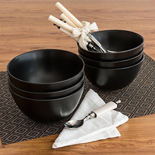 Ceramic Swirl (Simple Black Matte Swirl Bowls, Set of 6)