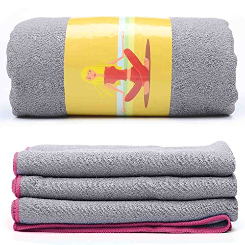 Loel Brikram Hot Yoga Towel- Microfiber SUEDE Non Slip Hot Yoga Mat Towel Super Absorbant Quick-dry Sports Towels(Pink)