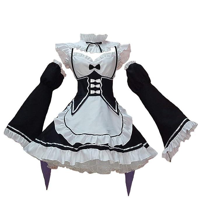 Amazon.com: CosplayLife Re:Zero Ram Rem Lolita Maid Disfraz ...