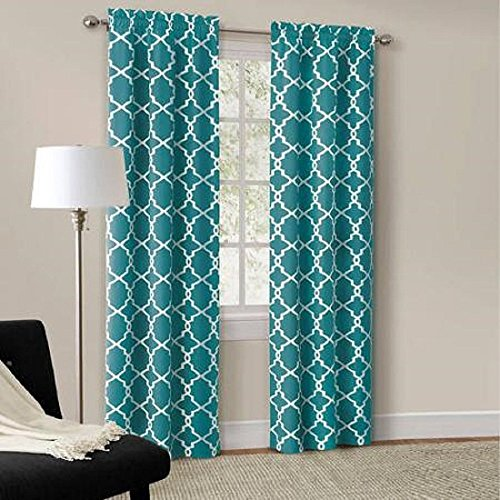 Mainstays Calix Fashion Window Curtain Panel Pair, 84″-Rich Teal