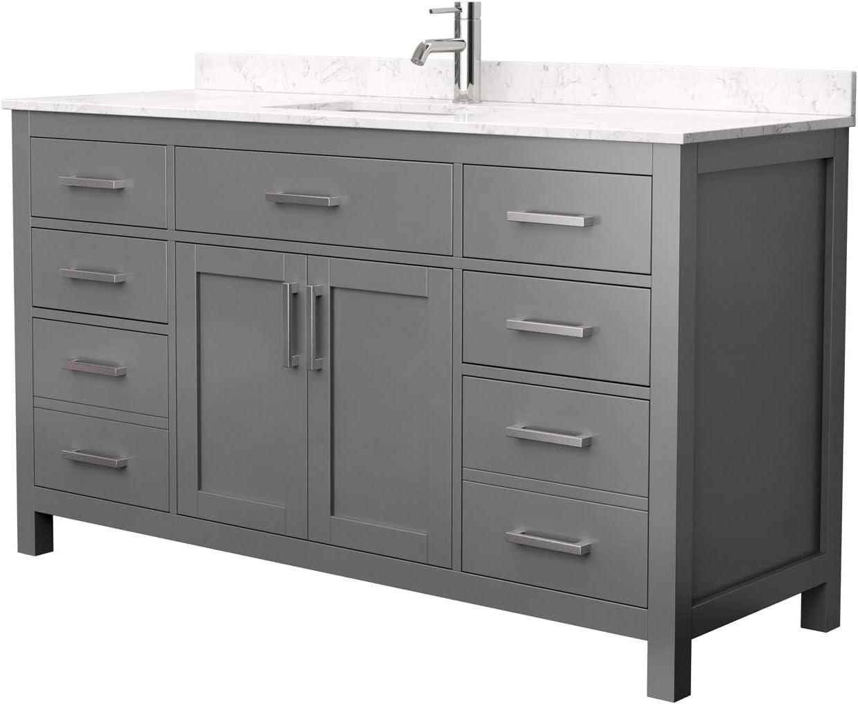 Beckett 60 Inch Single Bathroom Vanity In Dark Gray Carrara Cultured Marble Countertop Undermount Square Sink No Mirror Amazon Com
