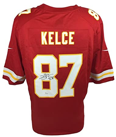 e9aec4bd ... cheap travis kelce signed kansas city chiefs red nike game replica  jersey jsa itp bef04 108af