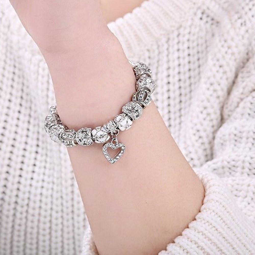 AKKi jewelry Charm en Verre de Murano pour Bracelet et cha/îne de d/ébutant en Acier Inoxydable et zircones Argent