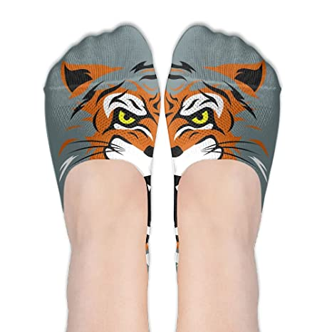 PangYuen Angry Tiger Head - Calcetines de Mujer de poliéster y Algodón, para Barco,
