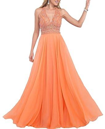 BONBETE Prom Dress Halter A Line Beaded Long Chiffon Light Orange Evening Dress