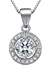 "J.SHINE Woman Pendant Necklace 925 Sterling Silver 18"" Box Chain Necklace 3A 6mm Round Cut Cubic Zirconia Pendant"