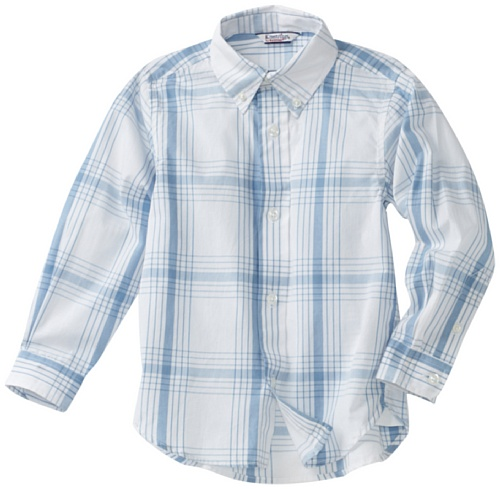 Kitestrings Little Boys' Little Windowpane Plaid Button Front Shirt, Blue Plaid, - Plaid Shirt Hartstrings