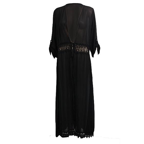 Womens Ladies Long Lace Kimono Open Front Abaya Maxi Style Belted ...