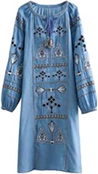 ba17c863115b Goodnight Macaroon  Blake  Embroidered Chambray Dress