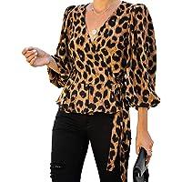 BOMBAX Women Leopard V Neck Ruched Wrap Tops Tie Waist Balloon Sleeve Peplum Shirt Blouse