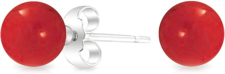 BALL 925 STERLING SILVER STUD EARRINGS 6mm 8mm 10mm GENUINE CARNELIAN BEAD