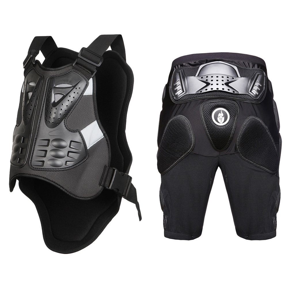 WOSAWE Powersports Armored Vest and Padded Shorts Set Motorcycle MTB Racing Protector, Medium