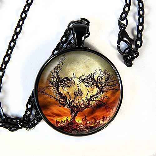 Skull Tree - Pendant Necklace - Halloween - (Samhain Demon Halloween)