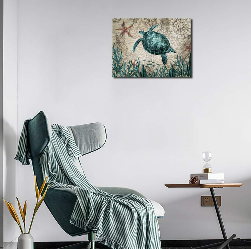 Sea Turtle Canvas Wall Art for Bathroom Decor Green Turtle Painting Pictures Ocean Nautical Canvas Artwork for Living Room Bedroom Office Kitchen Kids Room Decoration 12\
