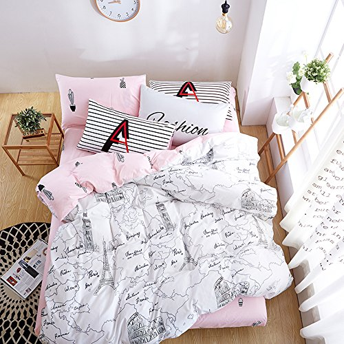 BuLuTu Paris 3 Pieces Kids Duvet Cover Sets Queen Cotton White Pink For Girls Reversible Cactus Print Girls Bedding Sets Full Cotton Zipper Closure,Love Gifts for Her,Mom,Women,Sister,Friend,Family (Pillow Insert World Sham)