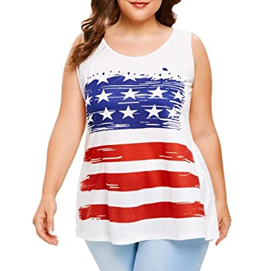 f506108991 Creazrise Womens Plus Size American Flag Tank Top Sleeveless Stars and  Stripe Cami Tops (White