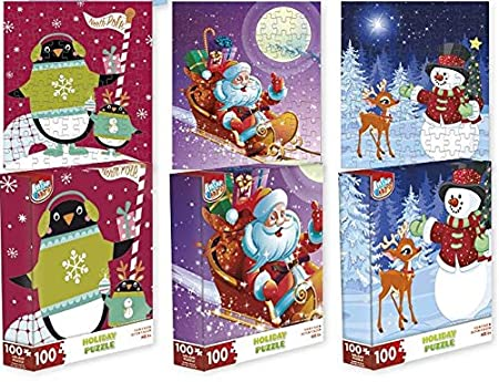 Christmas Jigsaw Puzzle Set - Three 100-Piece Puzzles - 3 Separate Holiday Themed Puzzles - Snowman, Santa, Penguin, Xmas Tree Jigsaw Puzzles - Best Kids or Family Gift or Stocking Stuffer