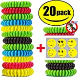 STURME 20 Pack Natural Mosquito Repellent Bracelets Waterproof Wristband wrist band Bug Insect Protection up to 300 Hours, No Deet, Pest Control for Kids Adults (20 PACK)