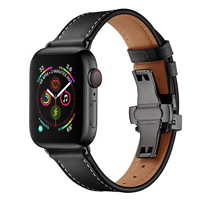 EloBeth Compatible with Apple Watch Bands 42mm 44mm Leather iWatch Series 4 3 2 1 Replacement Band with Metal Buckle (42mm&44mm Black)