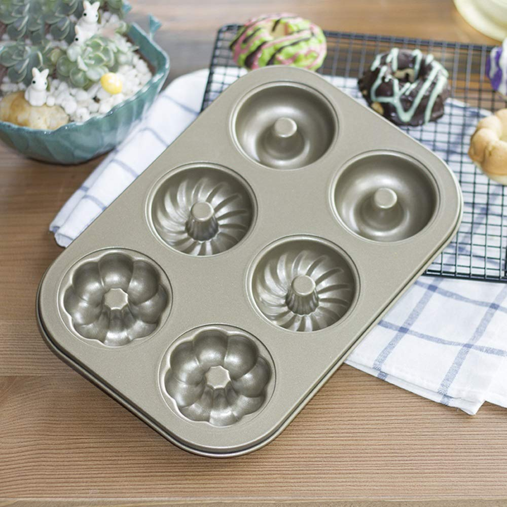 Waitousanqi Kitchen Utensils Six-flowered Donut Cake Mold, Carbon Steel Non-stick Bread Baking Tray, Gold (18.526.52.2cm) W25
