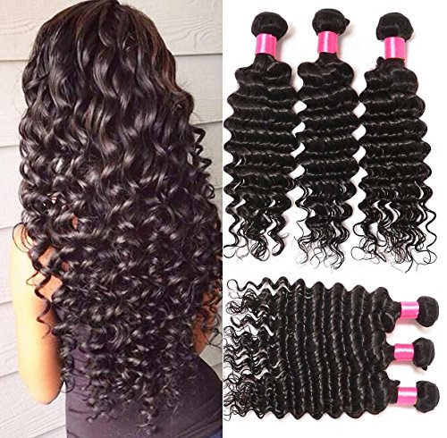 Cheap Virgin Indian Hair Bundles Hair Extensions Human Hair Deep Wave Extensions Pack of 3 Bundles(8 10 12inches) Total Weight of 10.58oz Natural Black Color Can be Dyed)