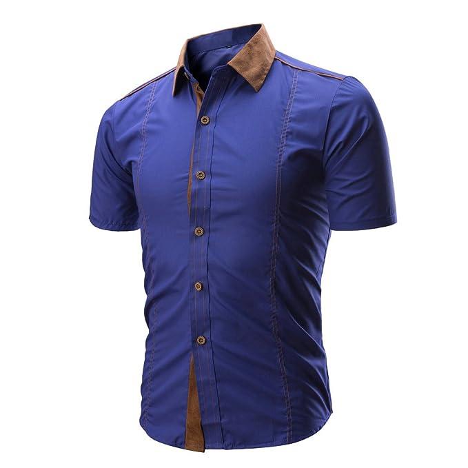 Camisetas de Manga Corta Hombre Absolute Camiseta Color Block de Hombre Camisa Delgada de Color sólido