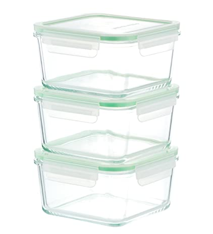 Kinetic GoGREEN Glassworks Series 6 Piece Square Oven Safe Glass Food  Storage Container Set 35