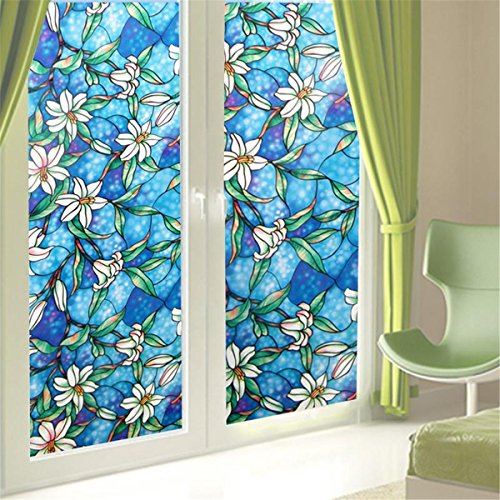 Fofon Window Film Privacy No Glue Clings Static Self Adhesive Decorative Stained Glass Films For Bathroom Bedroom Home Kitchen 17.71 By 78.74 Inches